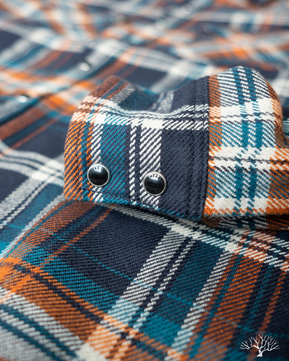 Iron Heart Ultra Heavy Flannel Crazy Check IHSH-262-NAV with Permex Snaps