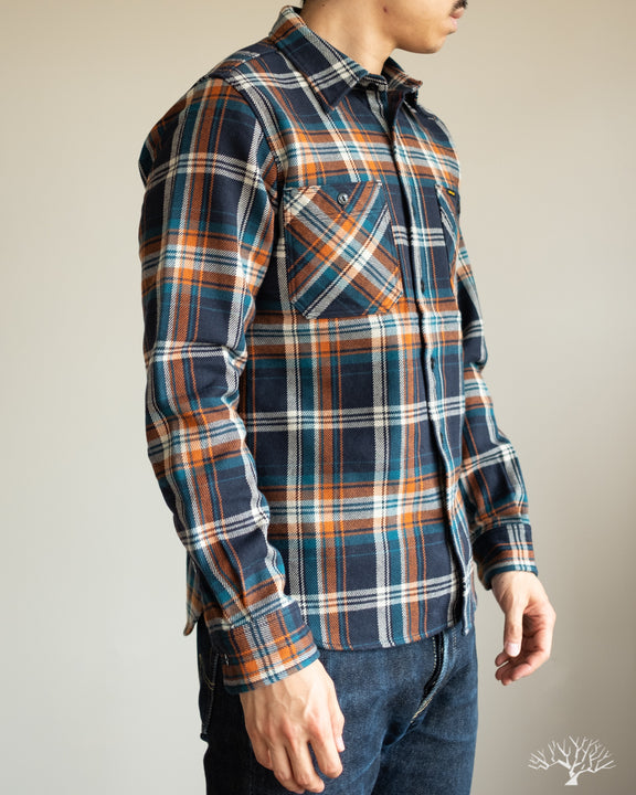 IHSH-263-NAV - Ultra Heavy Flannel Work Shirt - Navy Crazy Check