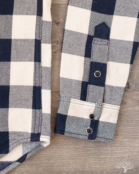 Iron Heart Ultra Heavy Flannel Navy-Ivory Buffalo Check Flannel Western Shirt