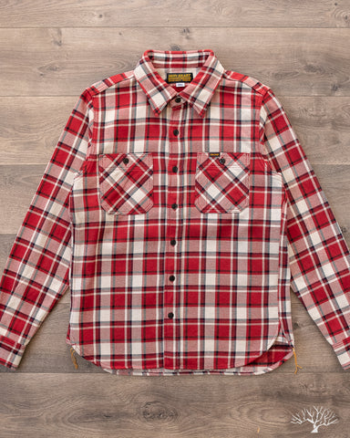 Iron Heart Small Block Check Work Shirt Red IHSH-258-RED