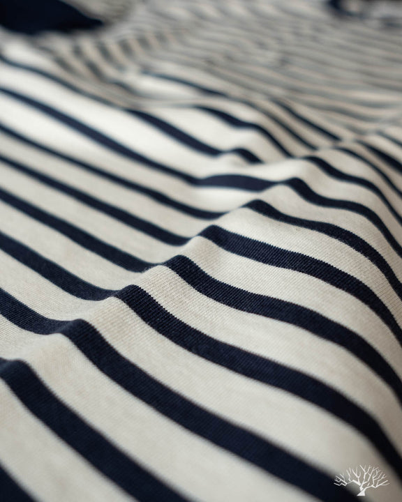 2M07 Striped Henley Short Sleeve - Ink Blue/Nature
