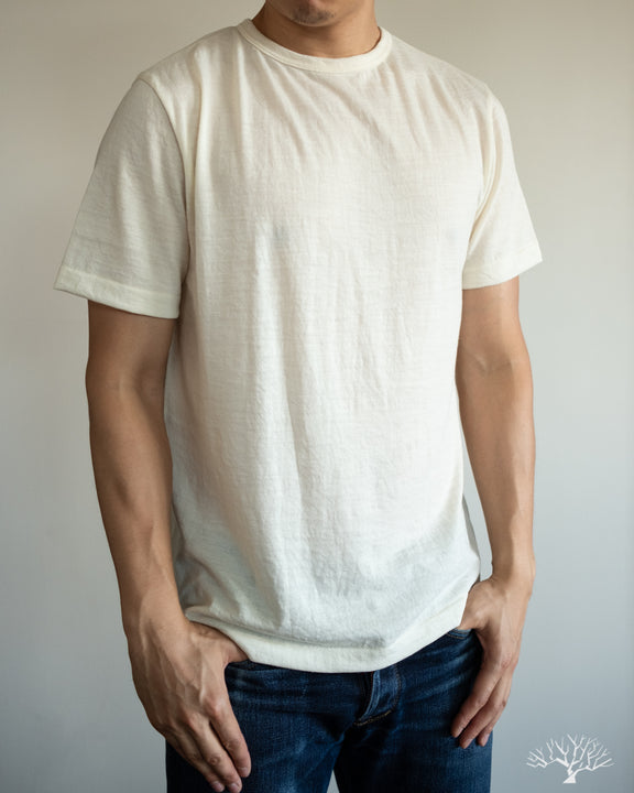 Merz b. Schwanen 2W15 Merino Wool Crew Neck Tee in Nature