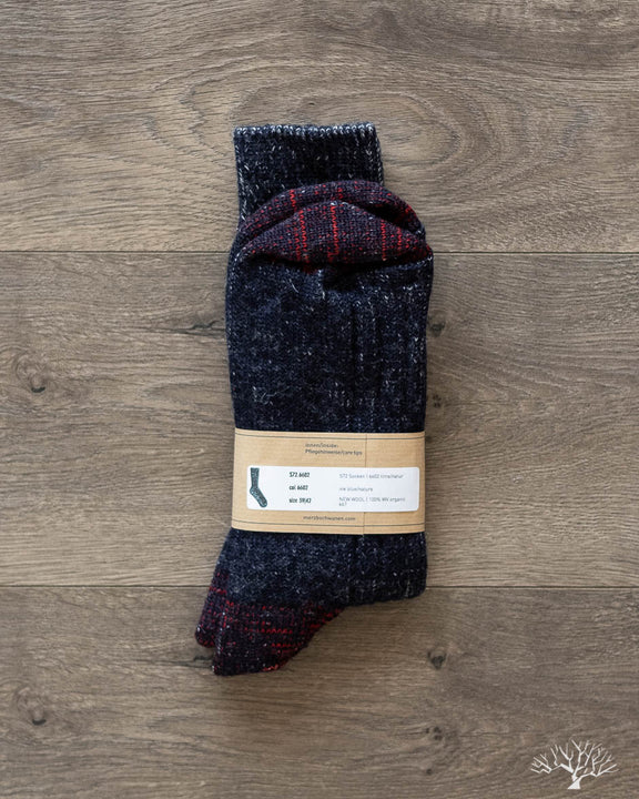 W72 Organic Wool Socks - Ink Blue/Nature