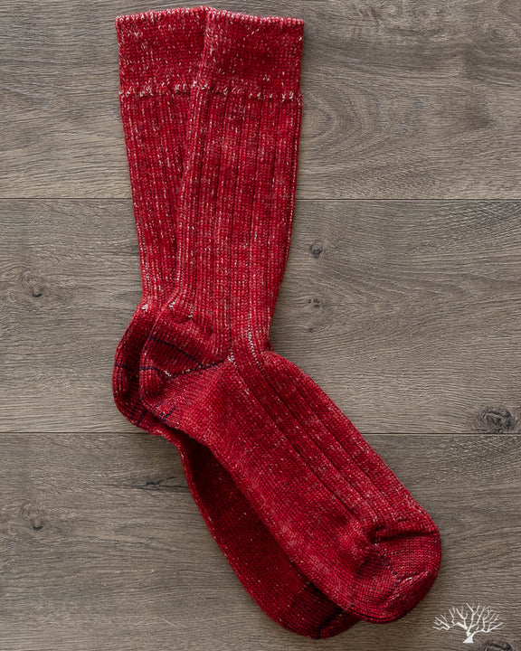 W72 Organic Wool Socks - Red/Nature