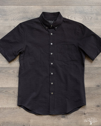 Outclass Black Seersucker Short Sleeve Shirt