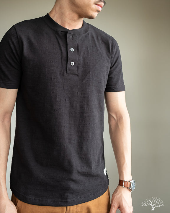 Outclass Slub Short-Sleeve Henley - Black