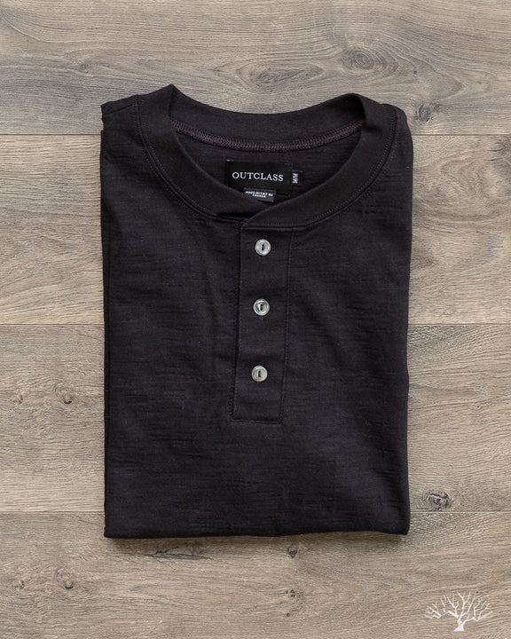 Slub Short-Sleeve Henley - Black