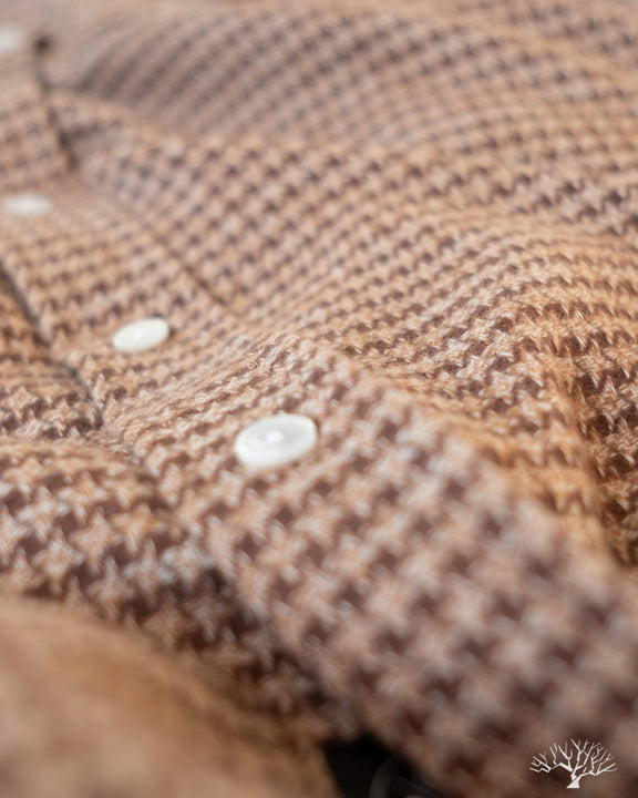 Houndstooth Flannel Shirt - Camel
