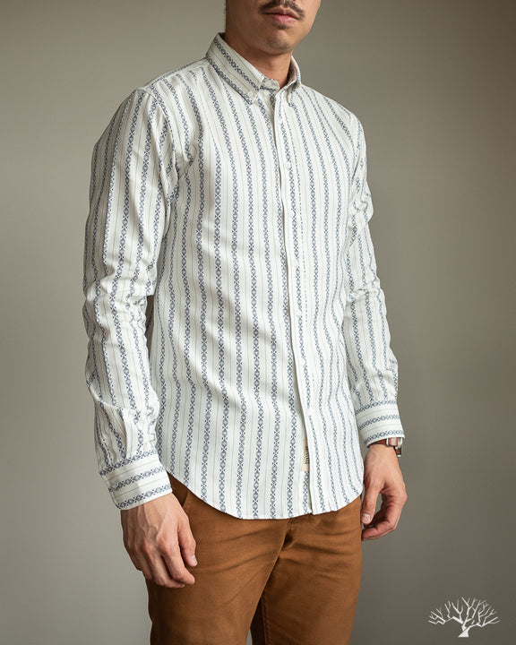 White Southwestern Long-Sleeve Shirt