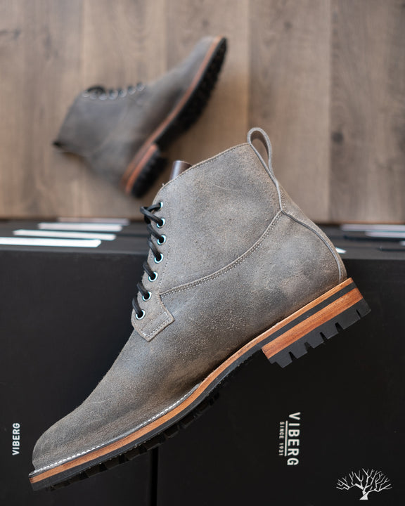 Viberg Waxed Anthracite Roughout Country Boot with Commando sole