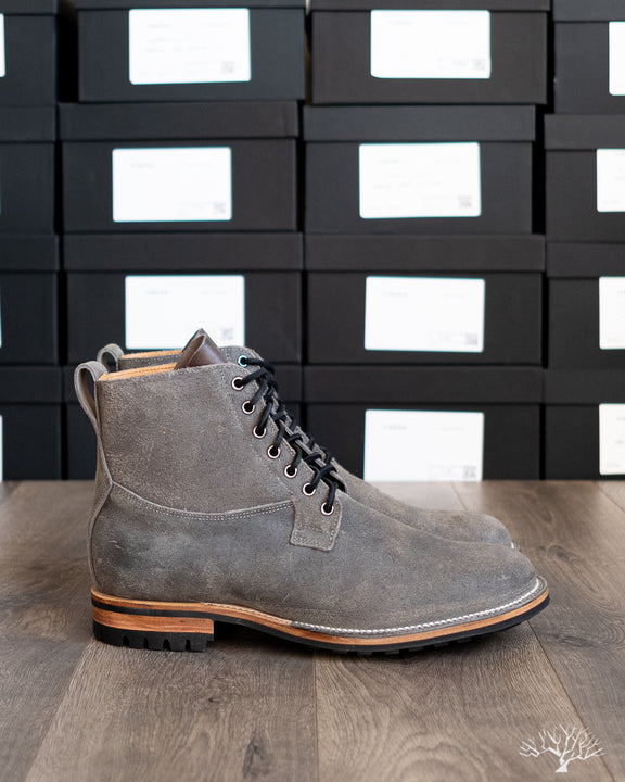 Viberg Waxed Anthracite Roughout Country Boot 1035 Last Commando Sole