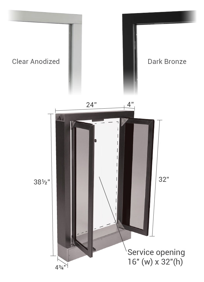 CM-1 Bi-fold window color options and size details