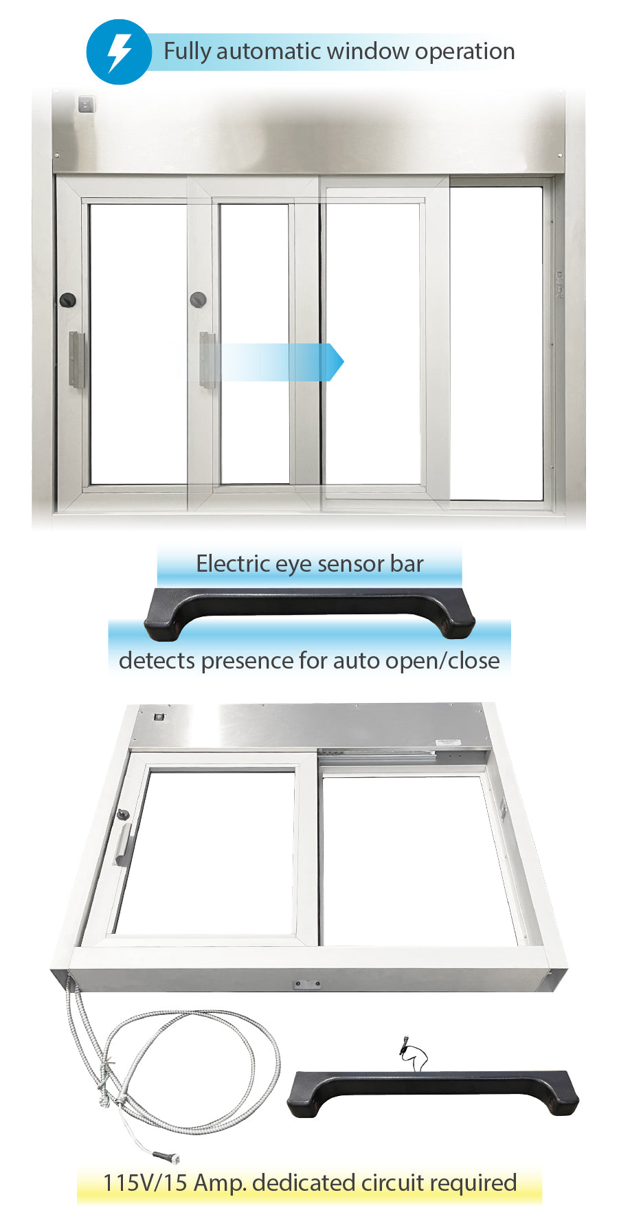 Quikserv fully automatic self closing drive thru slider window Covenant Security Equipment