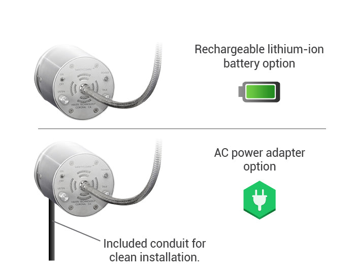 Amplified speak-thru battery AC power details