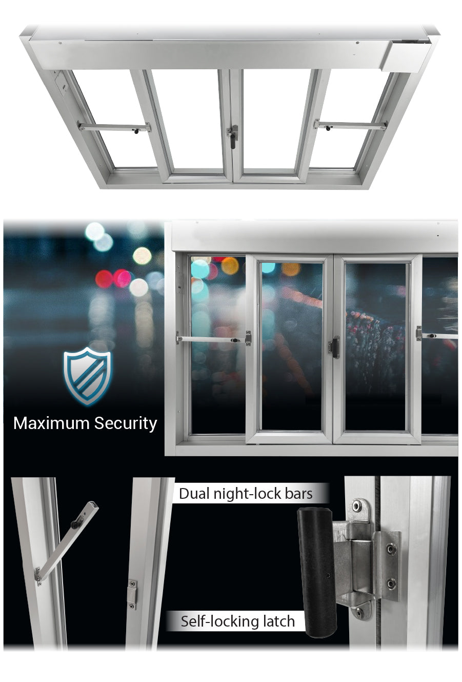 Ready Access Drive thru window bi-parting Covenant Security Equipment