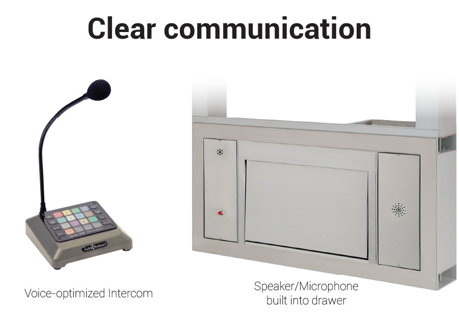 Quikserv large transaction station covenant security bullet resistant clear communication
