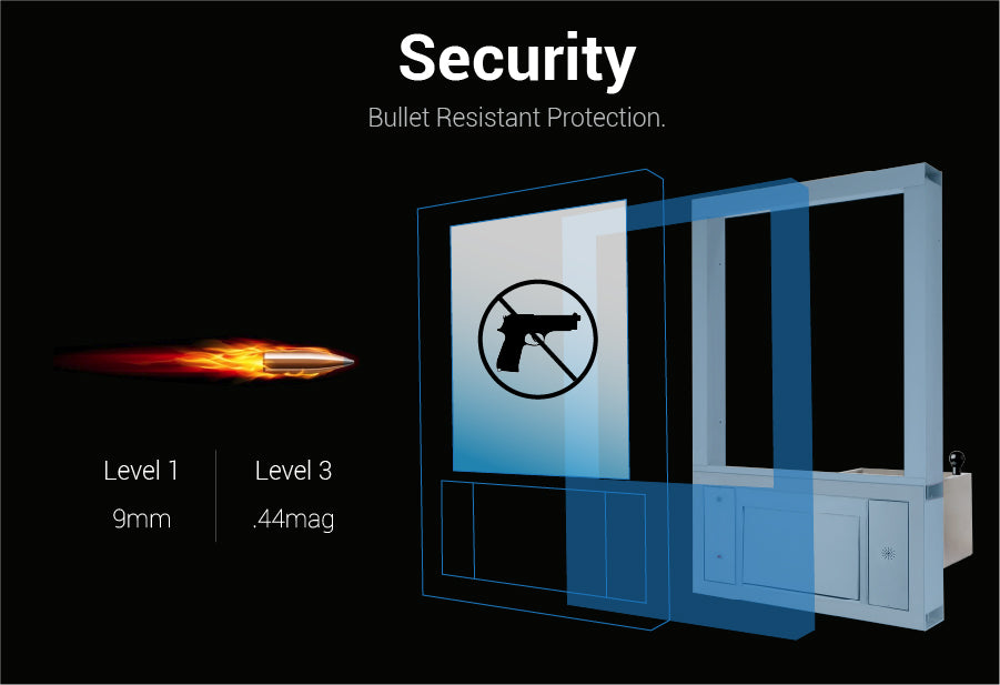 Quikserv large transaction station covenant security bullet resistant