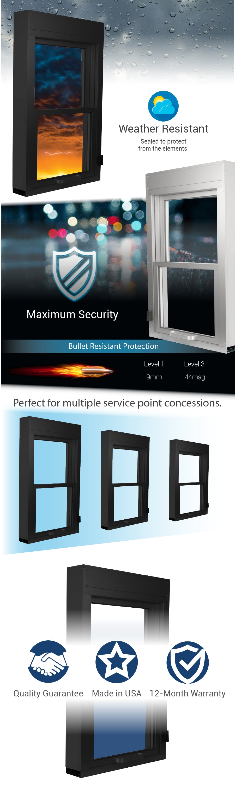 SUI Series vertical lift window drive thru Covenant security equipment