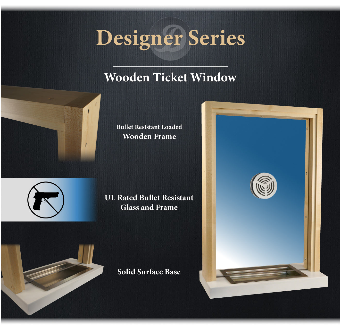 wood framed ticket window details