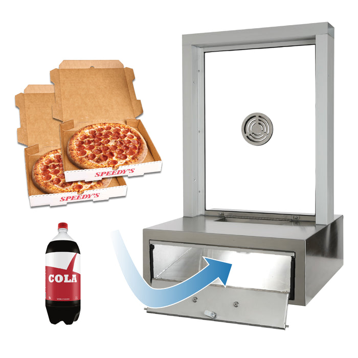 "STOCK | CSE-QS-TS-PD | Ticket Window With Pizza Drawer Transaction Station | Clear Anodized 1/4"" Tempered"