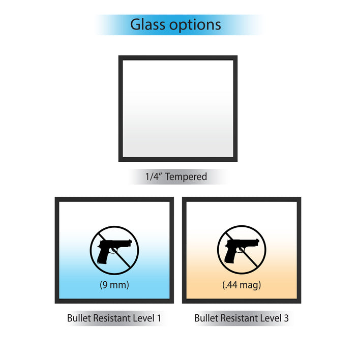 Fixed frame window bullet resistant glass options