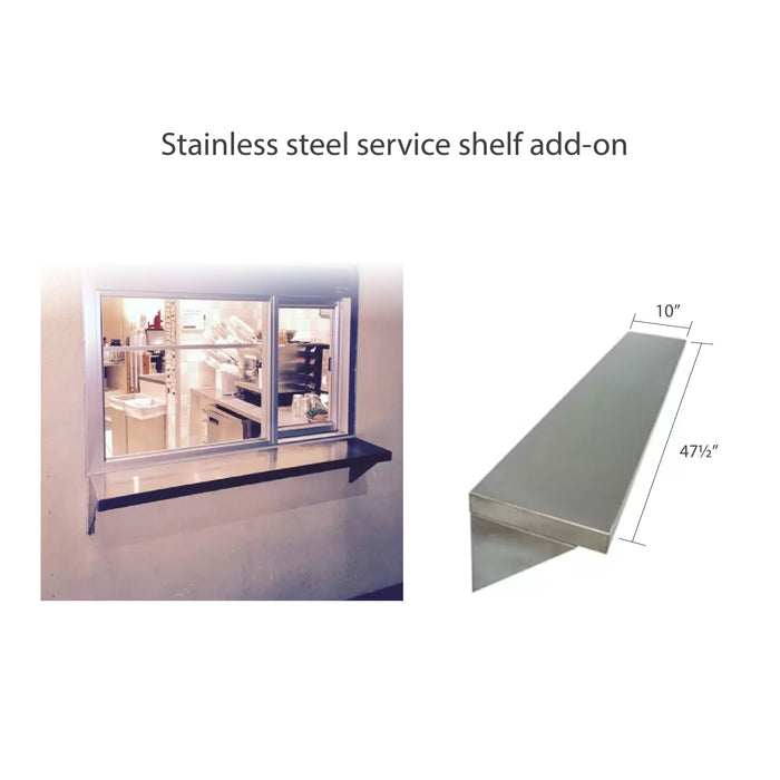 275-SC Ready Access Self Closing Drive-Thru Slider Window Multiple Colors stainless steel shelf