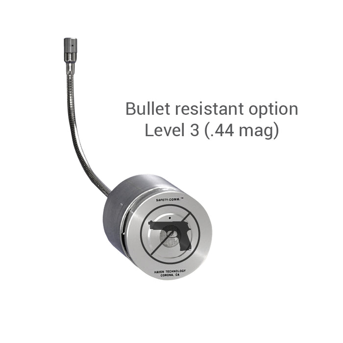 Amplified speak-thru adapter bullet resistant