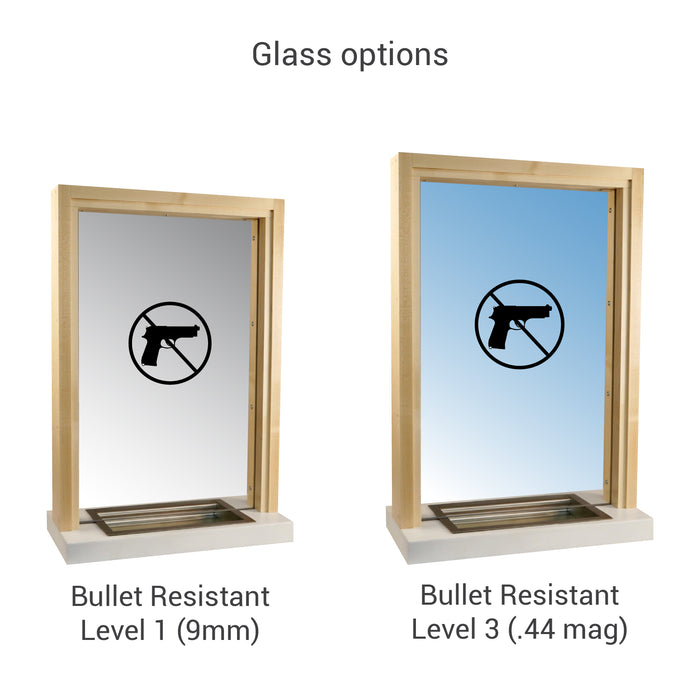 Wooden bullet resistant ticket window