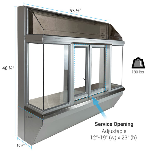 Ticket window aluminum front view.