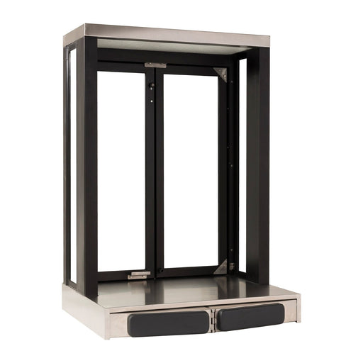 Panoramic Push Bar Bi-Fold Drive Thru Transaction Window Bronze