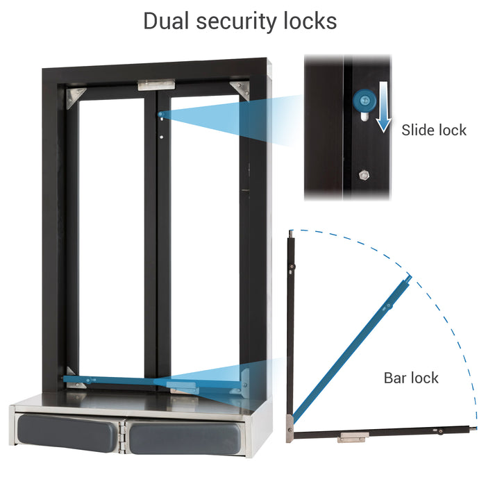 Push Bar Bi-Fold Transaction Window dual security locks