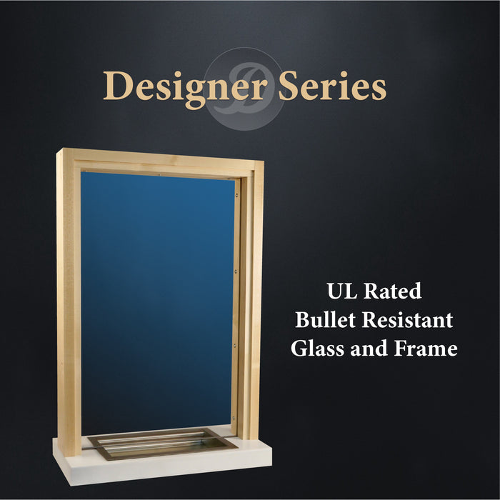 Wooden bullet resistant ticket window UL rated