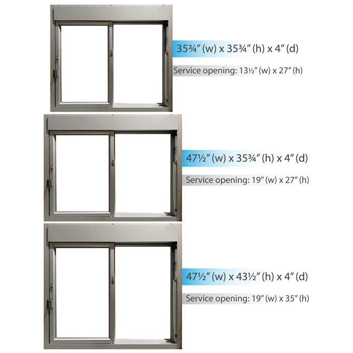 275-SC Ready Access Self Closing Drive-Thru Slider Window Multiple Colors multiple size options