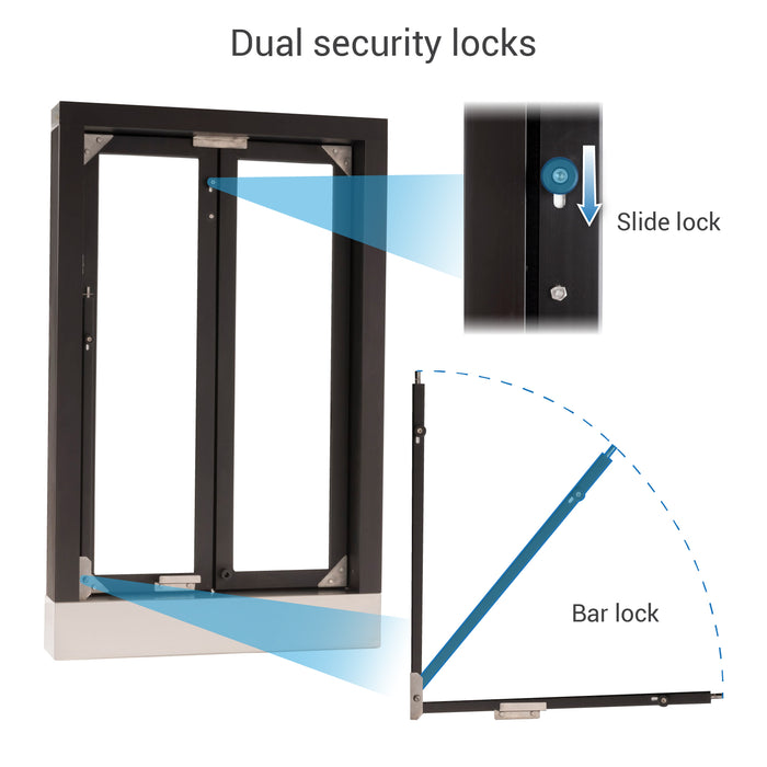 CM-1 Bi-Fold transaction window dual security locks