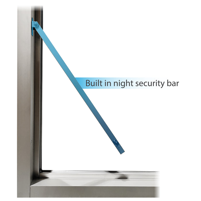 275-SC Ready Access Self Closing Drive-Thru Slider Window Multiple Colors built in nigh security bar