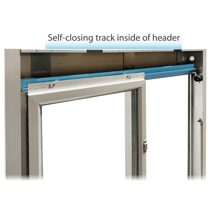 275-SC Ready Access Self Closing Drive-Thru Slider Window Multiple Colors self-closing track inside of header