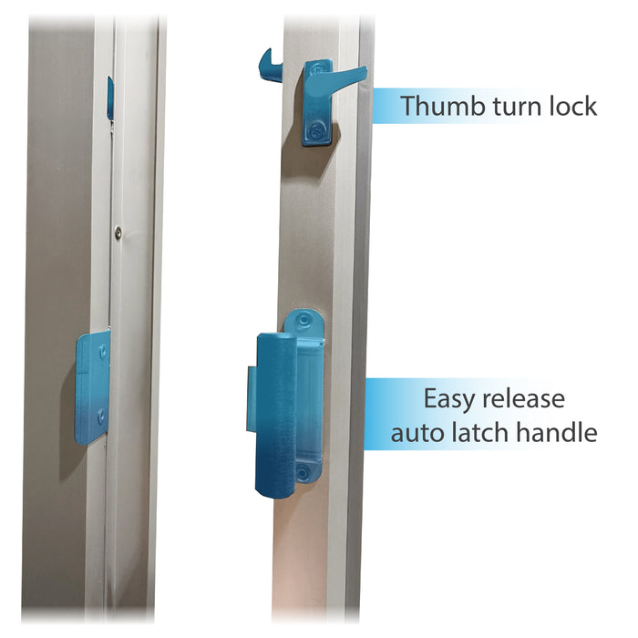 275-SC Ready Access Self Closing Drive-Thru Slider Window Multiple Colors thumb turn lock and easy release auto latch handle
