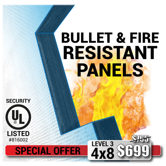Bullet resistant panel and fire resistant special offer