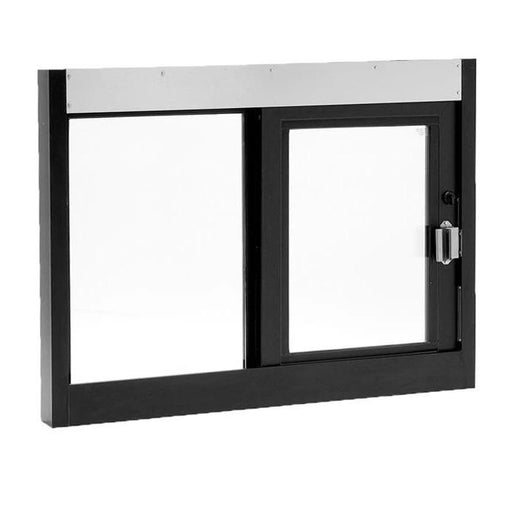 Single Self-Closing Horizontal Slider Drive-Thru Window Dark Bronze