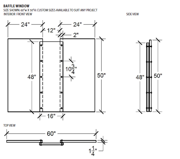 CSE-QS-TWB-6050 | Baffle Interior Transaction Window