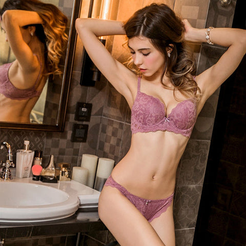 Gorgeous Lace Padded Push Up Bra Set