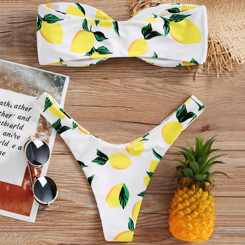 Lemon Print Twist Bikini