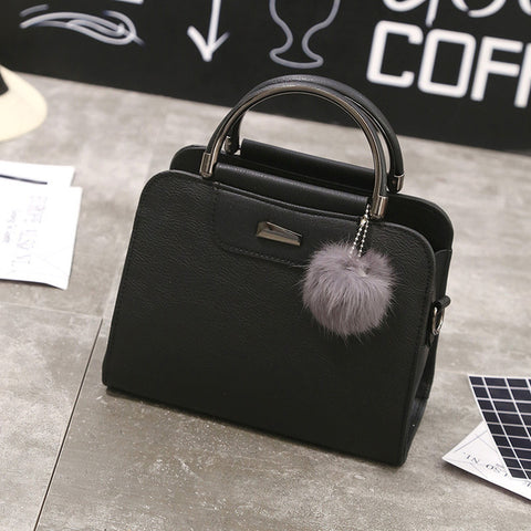 suutoop women leather tote bag women fashion designer handbags high quality  ladies bags vintage crossbody bags with fur ball dd5b2266bf6e4