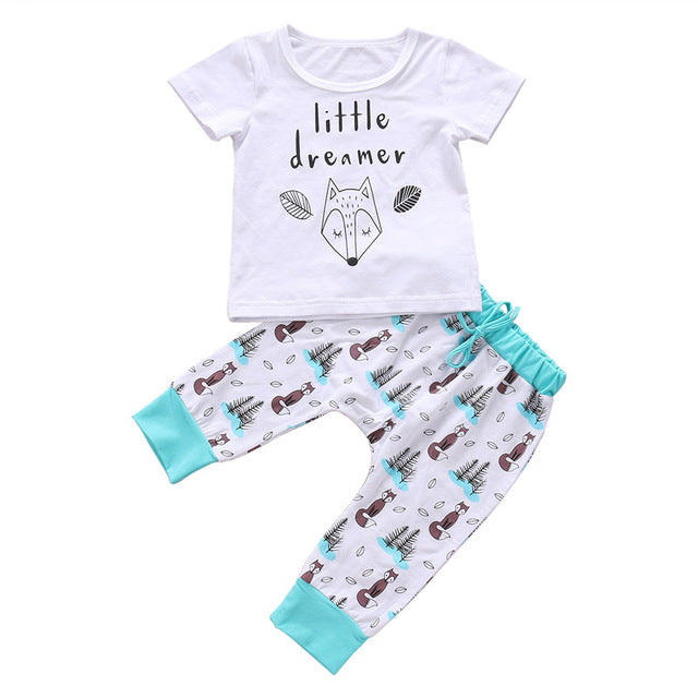 a7f80cc4eb535 pudcoco 0-2Y summer Newborn Baby Boy girl Clothes set little dreamer fox  T-shirt Tops+Pants Outfits Clothes Baby Clothing Set