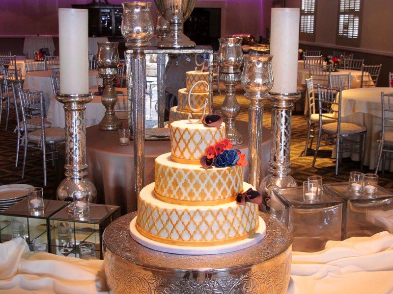 3-tier gold and white wedding cake