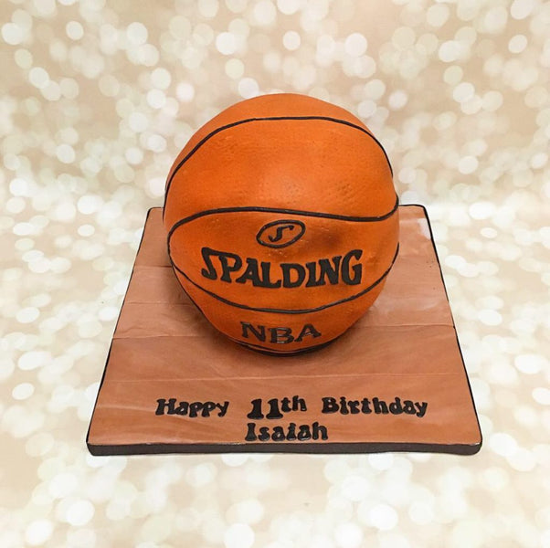 3D basketball birthday cake with wooden cake board