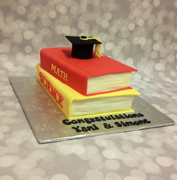 3D stacked books with cap graduation cake