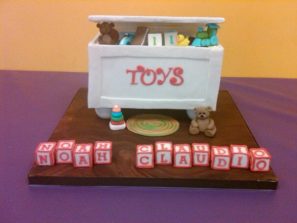 3D toy box birthday cake with 3D toys