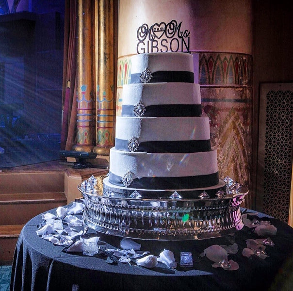4-tier black and white wedding cake