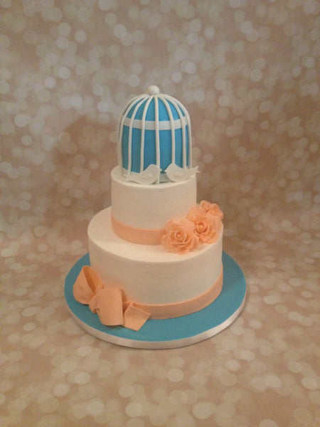 Blue and peach bird cage 2-tier baby shower cake